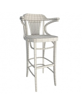 classic-iria-wooden-furniture-3d-barstool-wireframe