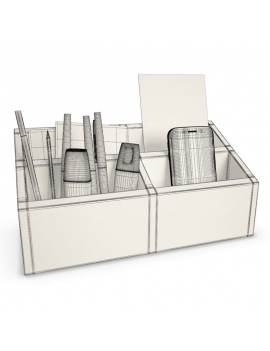 office-supplies-3d-horizontal-organizer-pencils-wireframe