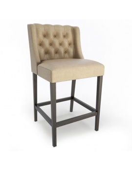 Upholstered Lara Barstool 3d Model