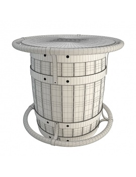 table-wooden-barrel-3d-wireframe