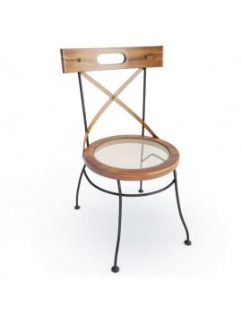 Chaise De Table En Bois Et Fer Forge En 3d A Telecharger En Max