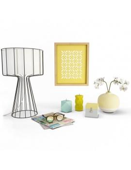 objets-decoratifs-colores-et-orchidees--3d
