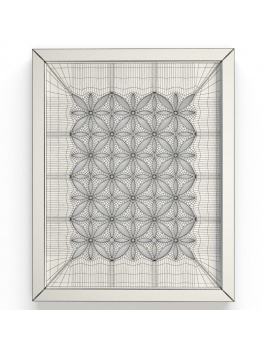colored-decorative-objects-and-orchids-3d-wall-frame-wireframe