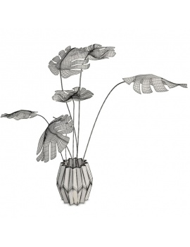 philodendron-interior-plant-and-vase-3d-wireframe