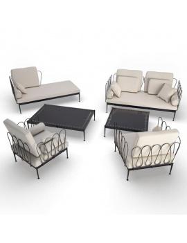 mobilier-exterieur-metallique-fleurs-3d-set