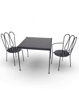 mobilier-exterieur-metallique-fleurs-3d-chaises-table