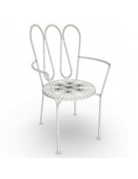 mobilier-exterieur-metallique-fleurs-3d-chaise-accoudoirs-filaire
