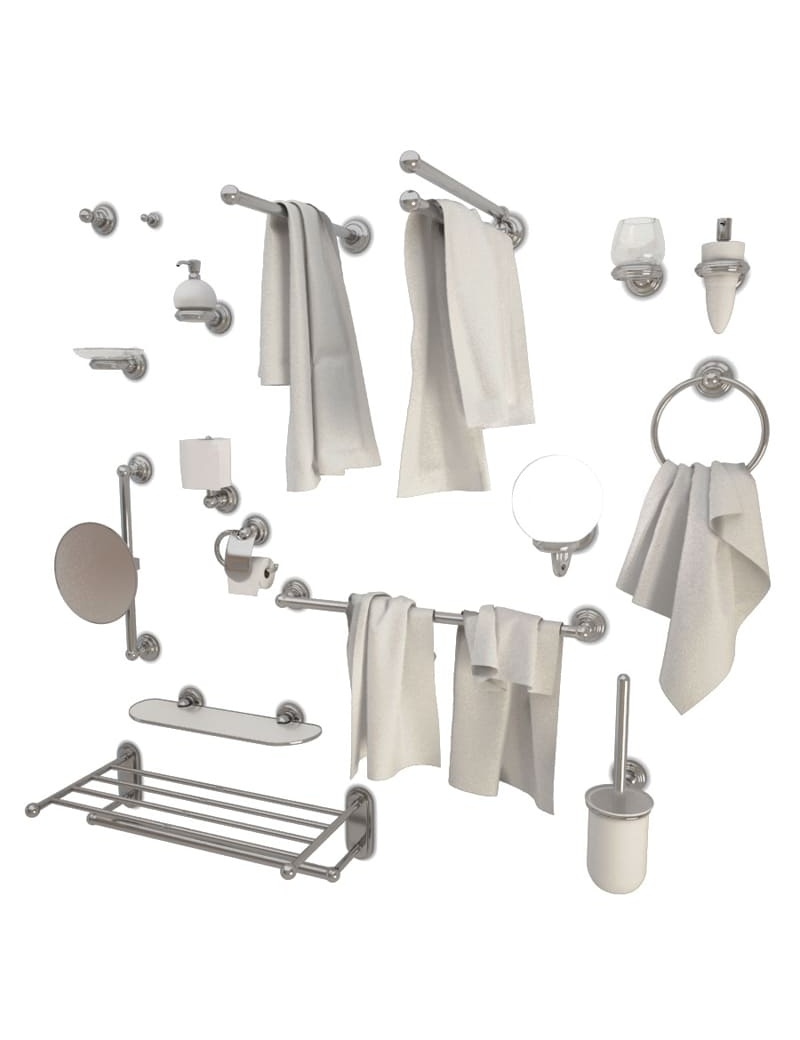 Metallic Bathroom Accessories Astor 3D for download in max 2014 and obj