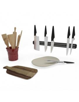 cuisine-equipee-et-ilot-central-3d-ustensiles-couteaux-planche