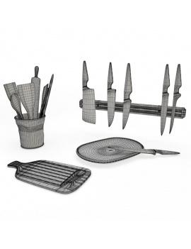 cuisine-equipee-et-ilot-central-3d-ustensiles-couteaux-planche-filaire