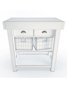 meuble-d-appoint-en-bois-et-paniers-3d-filaire