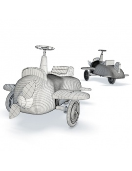 pedal-airplane-for-kids-3d-wireframe