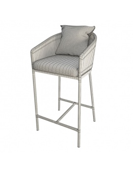 outdoor-bar-stool-with-cushion-3d-wireframe