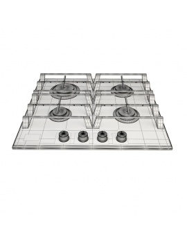 gas-hob-4-burner-3d-wireframe