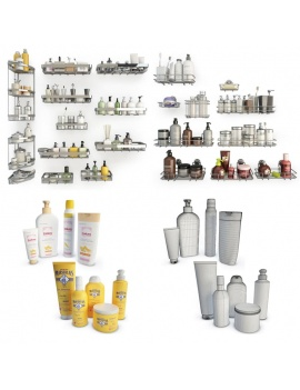 bathroom-products-and-metallic-shelves-3d