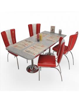 table-et-chaises-american-diner-modele-3d