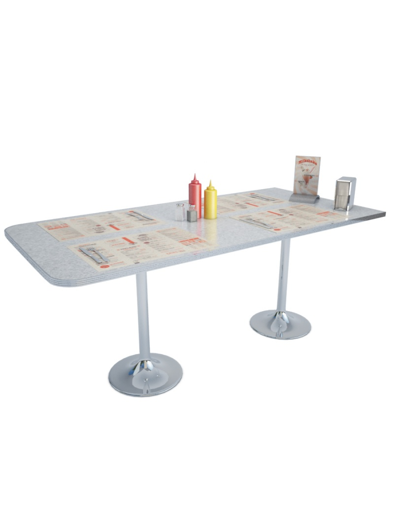 American Diner Table In 3d To Download In Max And Obj