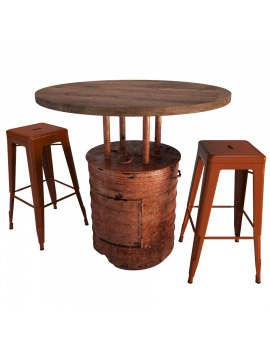 red-barrel-table-and-tolix-bar-stools-3d-model