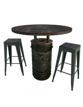 black-barrel-table-and-tolix-bar-stools-3d-model