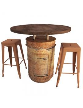 rust-barrel-table-and-tolix-bar-stools-3d-model