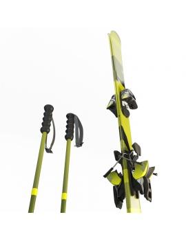 skis-et-batons-modele-3d