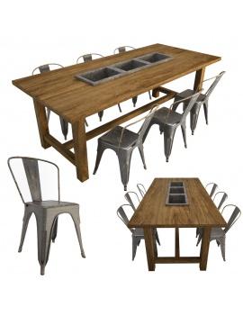 table-brenda-et-chaises-tolix-modele-3d