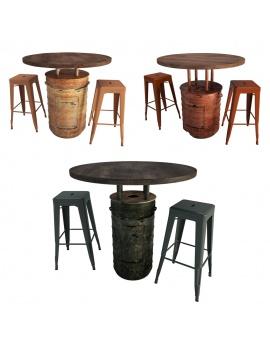 barrel-tables-and-tolix-bar-stools-3d-model