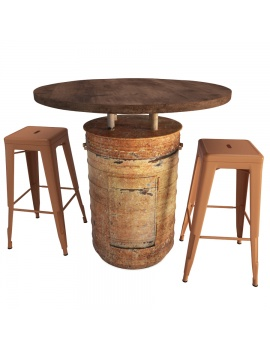 barrel-tables-and-tolix-bar-stools-3d-model-orange