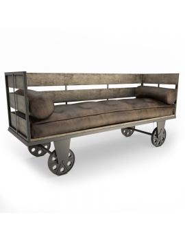 industrial-bench-on-wheels-3d-model