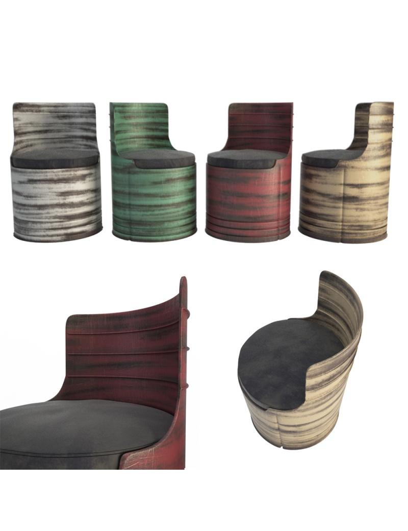 vintage-coloured-barrel-armchaire-3d-model