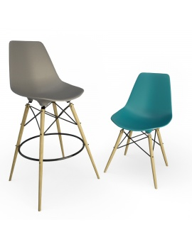 eames-chair-and-stool-by-vitra-3d-model