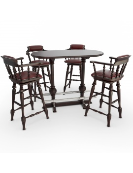 classic-wooden-table-and-barstools-3d-models
