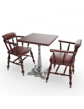 table-et-fauteuils-en-bois-modele-3d