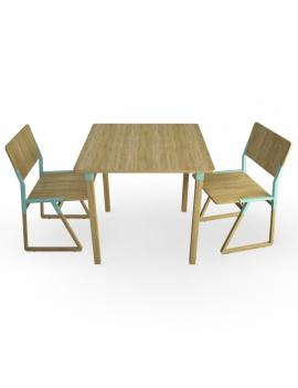 table-et-chaises-en-bois-noem-modeles-3d