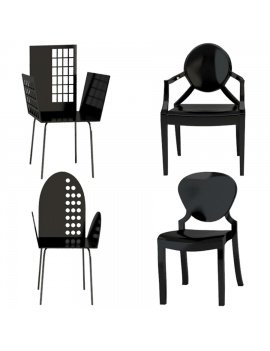 black-plastic-chairs-and-armchairs-collection-3d-models