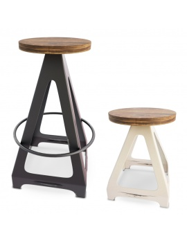 industrial-metallic-stools-livorno-set-3d-model