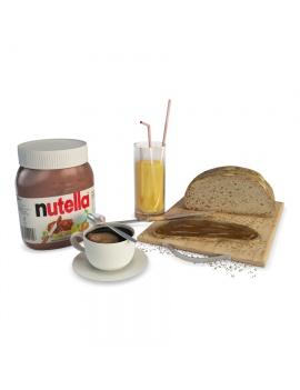 petit-dejeuner-cafe-et-tartines-modele-3d