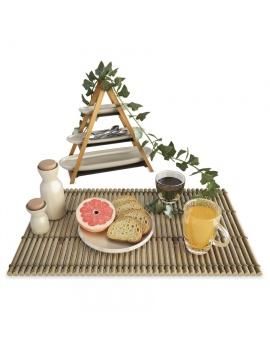 petit-dejeuner-toasts-et-fruits-modele-3d