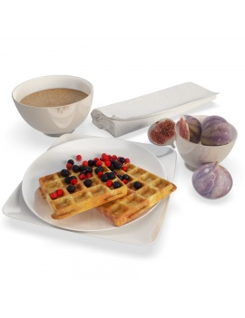 Breakfast Fruits and Waffles - 3d Model