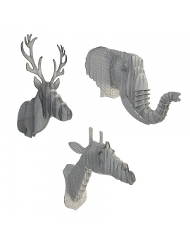 cardboard-sculpture-animals-set-3d-model-wireframe